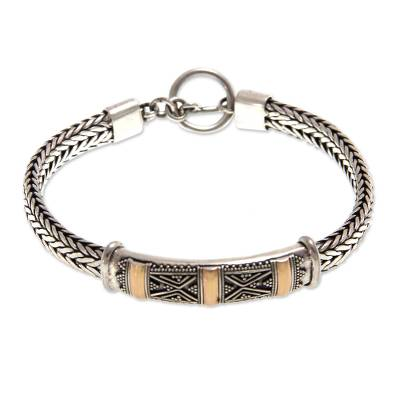 Sterling silver bracelet, 'Tanah Lot Mystery' - Fair Trade Gold Accent and Sterling Silver Chain Bracelet