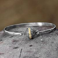 Sterling silver bangle bracelet, 'Lunar Orbit' - Women's Sterling Silver Gold Accent Bangle from Indonesia