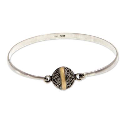 Sterling silver bangle bracelet, 'Lunar Orbit' - Hand Crafted Sterling Silver and 18k Gold Plated Bangle