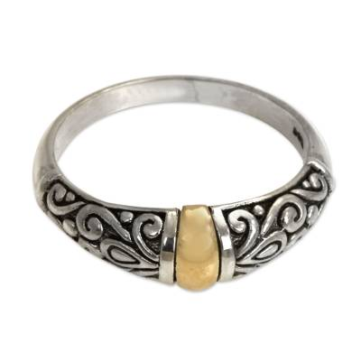 Gold accent cocktail ring, 'Balinese Twilight' - Sterling Silver and Gold Accent Ring