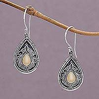 Gold accent dangle earrings, 'Dewdrop Leaves' - Silver Dangle Earrings with Gold Accent