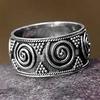 Sterling silver band ring, 'Whirlwind'
