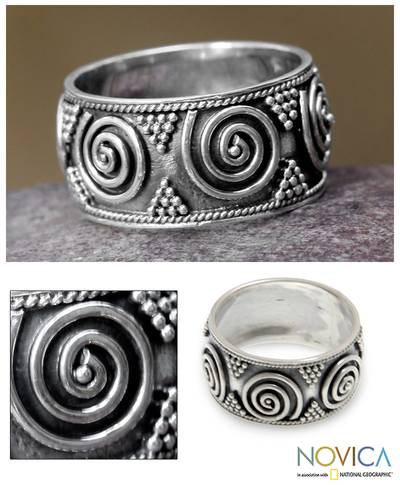 Sterling silver band ring, 'Whirlwind' - Handmade Sterling Silver Band Ring