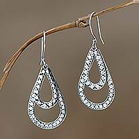 Sterling silver dangle earrings, 'Raindrop Tears'