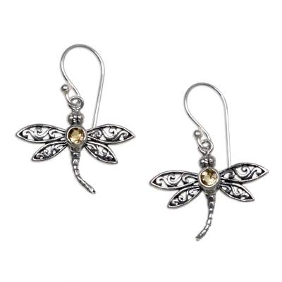Citrine dangle earrings, 'Enchanted Dragonfly' - Sterling Silver Citrine Dangle Earrings