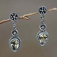 Citrine dangle earrings, 'Balinese Jackfruit' - Sterling Silver and Citrine Dangle Earrings