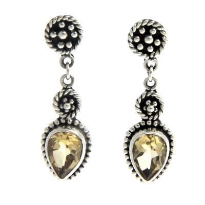 Citrine dangle earrings, 'Balinese Jackfruit' - Sterling Silver and Citrine Dangle Earrings