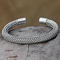 Sterling silver cuff bracelet, 'Interwoven' - Handmade Sterling Silver Cuff Bracelet