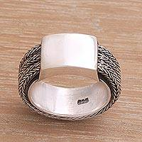 Men's sterling silver ring, 'Gallant Dragon' - Men's Sterling Silver Band Ring
