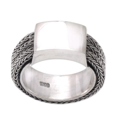 Men's sterling silver ring, 'Gallant Dragon' - Men's Sterling Silver Band Ring