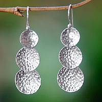 Sterling silver dangle earrings, 'Three Moons'