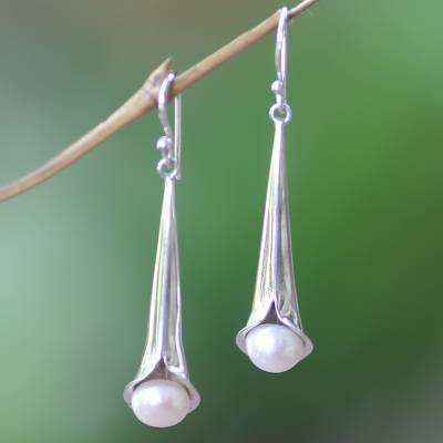 Cultured pearl dangle earrings, 'Trumpet Flower' - Sterling Silver and Pearl Dangle Earrings