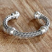 Sterling silver cuff bracelet, 'Balinese Legend'