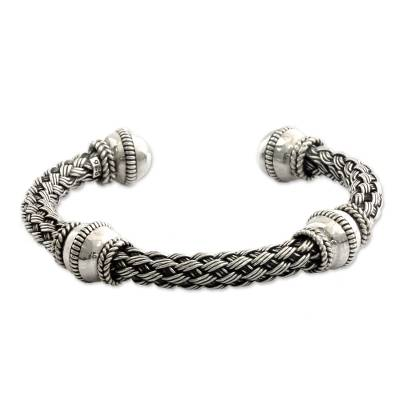 Handmade Balinese Woven Chunky Sterling Silver Cuff Bracelet