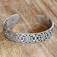 Sterling silver cuff bracelet, 'Indonesian Lace' - Artisan Crafted Sterling Silver Cuff Bracelet