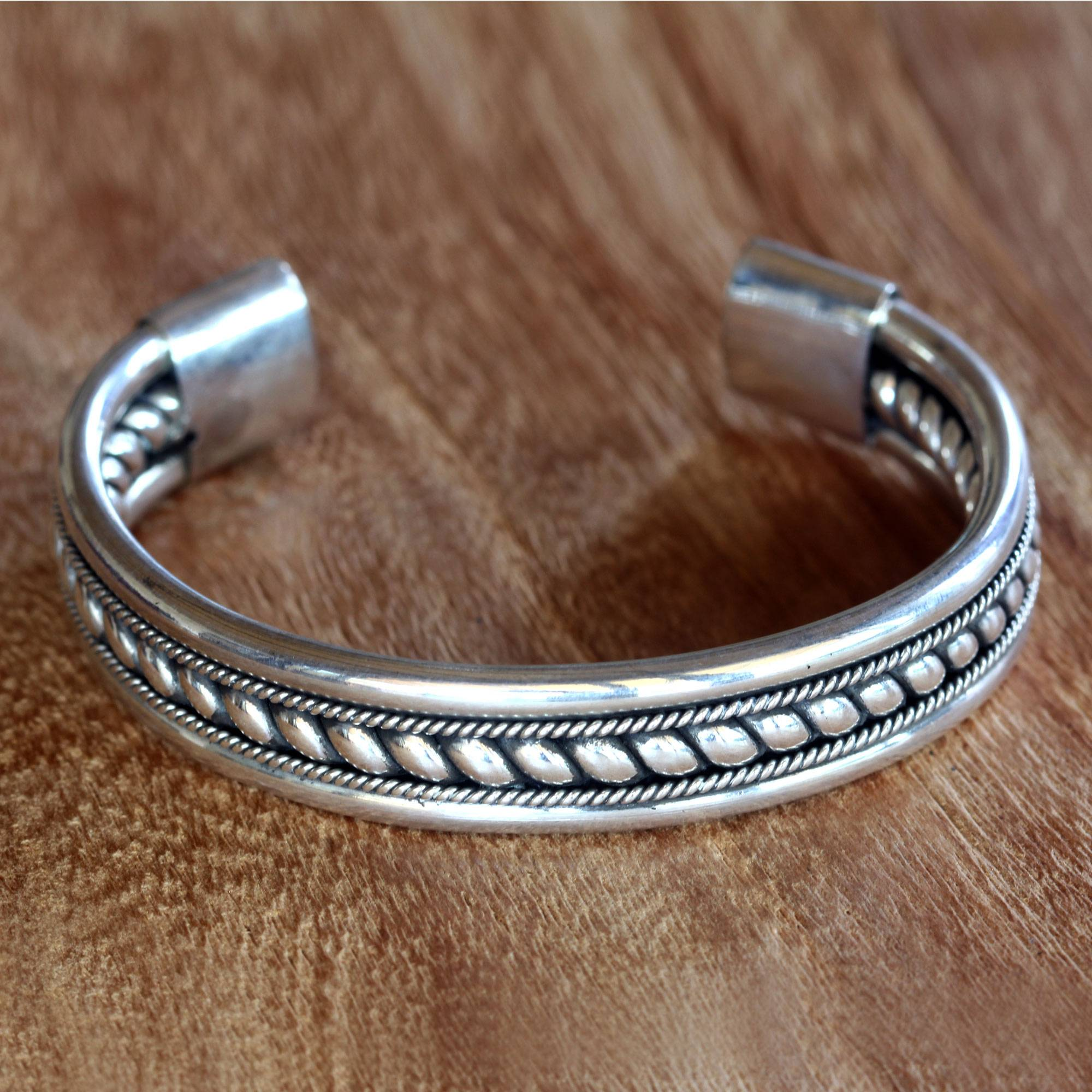 Modern Sterling Silver Cuff Bracelet Handcrafted In Bali  Strength Of  Celuk  Novica