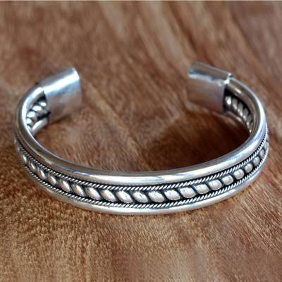 Sterling silver cuff bracelet, 'Strength of Celuk' - Sterling Silver Cuff Bracelet from Indonesia