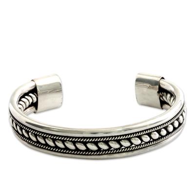 Sterling silver cuff bracelet, 'Strength of Celuk' - Sterling Silver Cuff Bracelet from Indonesia