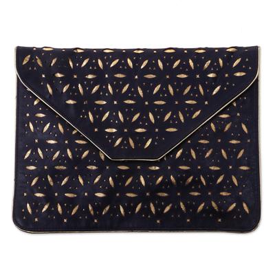 Dark Purple Leather Envelope Clutch from Bali