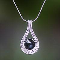Onyx pendant necklace, 'Midnight in Gianyar'