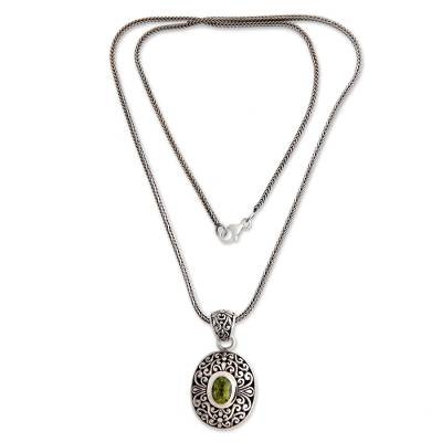 Peridot pendant necklace, 'Verdant Beauty' - Handcrafted Sterling Silver and Peridot Necklace
