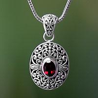 Garnet pendant necklace, 'Scarlet Beauty' - Unique Sterling Silver and Garnet Pendant Necklace