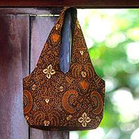 Beaded cotton batik shoulder bag, 'Bromo Dawn' - Batik Shoulder Bag In Warm Earth Tones