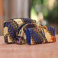 Cotton batik travel set, 'Jogjakarta Legacy' (set of 3) - Handcrafted Batik Travel Set