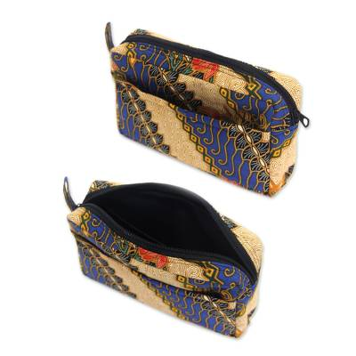 Cotton batik travel set, 'Jogjakarta Legacy' (set of 3) - Handmade Batik Cotton Cosmetic Travel Bags (Set of 3)