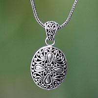 Sterling silver pendant necklace, 'Jasmine Flower' - Hand Made Floral Sterling Silver Pendant Necklace