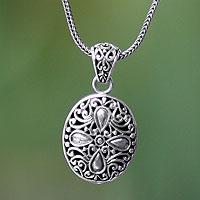 Sterling silver pendant necklace, 'Jasmine Flower'