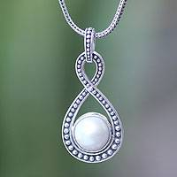 Cultured pearl pendant necklace, 'Infinite White' - Bridal Pearl and Sterling Silver Pendant Necklace