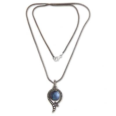 Cultured pearl pendant necklace, 'Sky Catcher' - Handcrafted Sterling Silver and Pearl Necklace