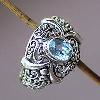Blue topaz single stone ring, 'Heavenly Garden'