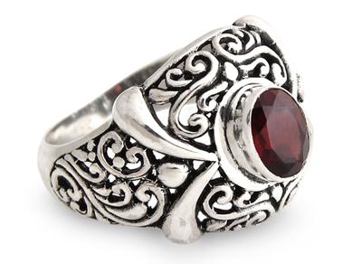 Garnet cocktail ring, 'Heavenly Garden' - Garnet and Sterling Silver Domed Ring