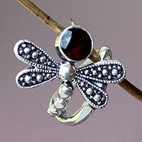 Garnet cocktail ring, 'Creature of Change' - Garnet cocktail ring