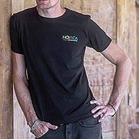 Men's 100% cotton Novica logo tee,  'Novica in Black' - Men's Fair Trade Logo Tee
