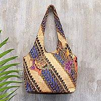 Beaded cotton batik shoulder bag, 'Jogjakarta Legacy'