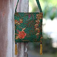 Beaded cotton batik shoulder bag, 'Princess Art'