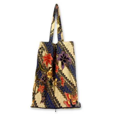 Cotton batik foldable tote bag, 'Jogjakarta Legacy' - Batik Cotton Foldable Shopping Tote Bag