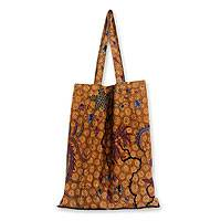 Cotton batik foldable tote bag, 'Madura Legacy' - Hand Crafted Batik Cotton Foldable Shopping Tote Bag