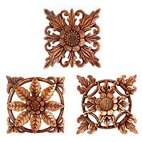 Wood wall panels, 'Balinese Flowers' (set of 3)