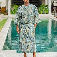 Men's cotton batik robe, 'Bull Snake'