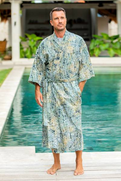 Men's cotton batik robe, 'Bull Snake' - Men's Hand Made Batik Robe