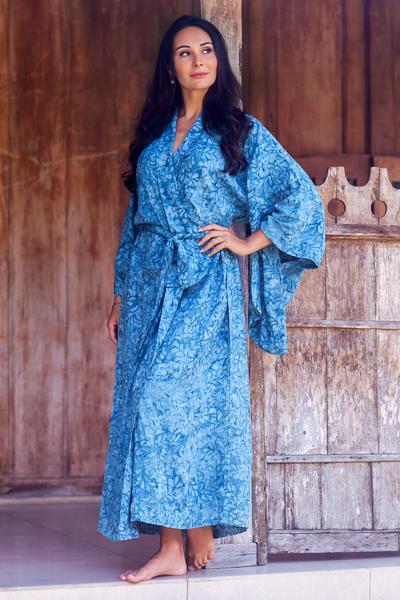 Batik robe, 'Garden of Illusion' - Women's Batik Patterned Robe