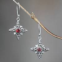 Garnet dangle earrings, 'Celuk Star'