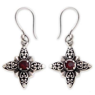 Garnet dangle earrings, 'Celuk Star' - Garnet and Silver Dangle Earrings