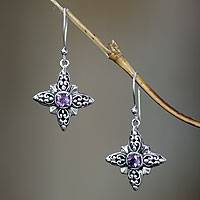Amethyst dangle earrings, 'Celuk Star' - Sterling Silver and Amethyst Dangle Earrings
