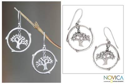 Sterling silver dangle earrings, 'Taru Menyan' - Handmade Sterling Silver Tree Earrings