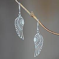 Sterling silver dangle earrings, 'Angelic'